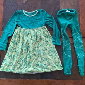 LL Bean Size 5-6 Matching Dress and Tights